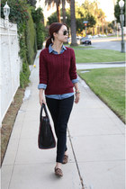 H&M sweater - H&M shirt - Celine bag - Steve Madden loafers