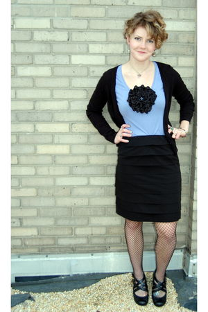 black Larry Levine skirt - purple DIY I made it shirt - black Vintage Fishnet Ti