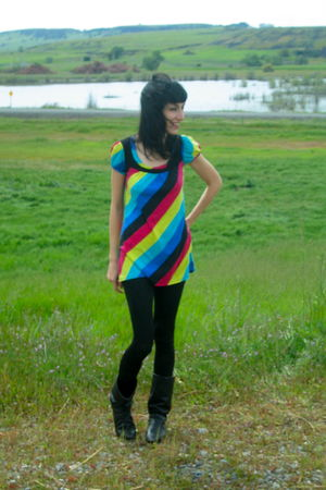 blue thrifted dress - black American Apparel leggings - black vintage boots