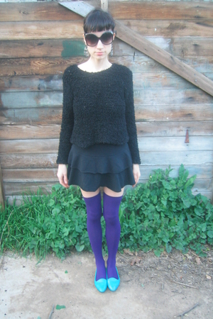 blue thrifted shoes - black thrifted sweater - black thrifted skirt - purple Soc