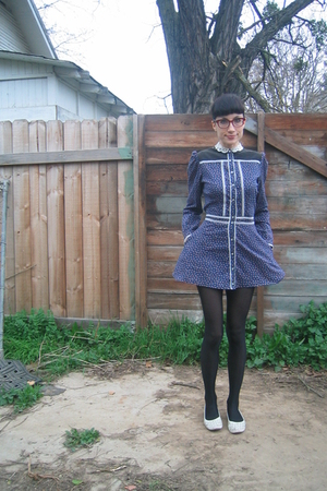 blue Gunne Sax dress - white shoes
