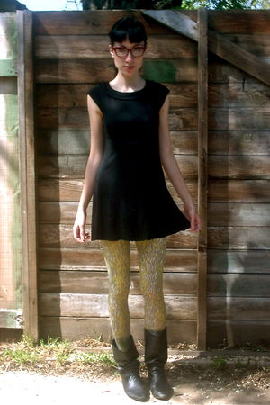 black h&m via goodwill dress - black vintage boots