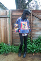 blue vintage jacket - black American Apparel leggings