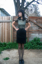 black thrifted skirt - black thrifted shoes - black thrifted top