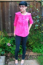 silver vintage shoes shoes - pink Bitten SJP blouse - black Urban Outfitters pan