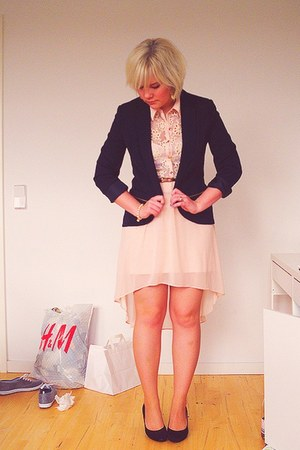 Primark blazer - high low hem Primark dress - suede H&M pumps