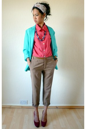 turquoise blue Vintage from starvintagefashion blazer - hot pink vintage from st
