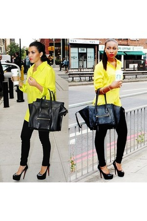 Celine Inspired bag - denim Newlook jeans - silk River Island shirt
