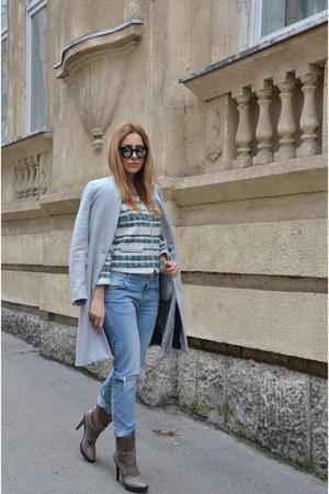 Zara blazer - Guess boots - silver Stradivarius coat - Zara jeans