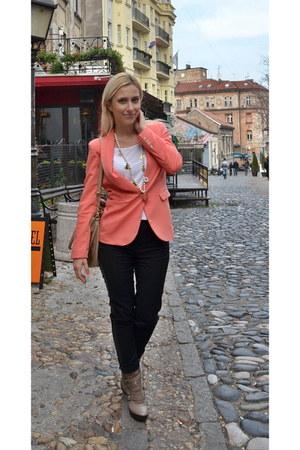 Sheinside blazer - beige Guess boots - tan H&M bag