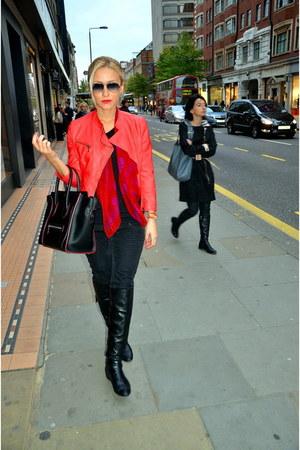 black stuart weitzman boots - Zara jacket - Alexander McQueen scarf