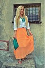 White-morgan-skirt-orange-sheinside-skirt-black-river-island-sandals