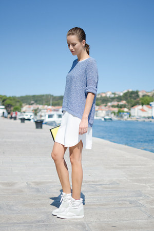 Zara dress - calvin klein sweater - neoprene H&M bag - wedges Aldo sneakers
