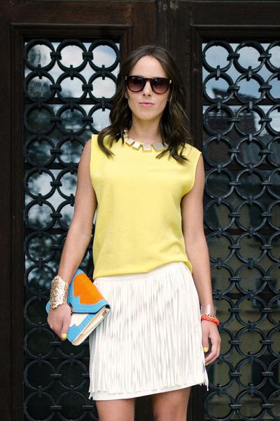 light yellow Zara top - Mango sunglasses - Mango necklace - DIY bracelet