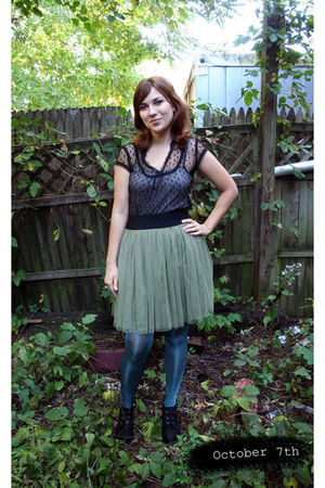 teal H&M tights - black Mia boots - black sheer Urban Outfitters shirt