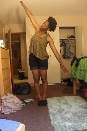 brown American Rag shirt - black shorts - black Forever 21 shoes