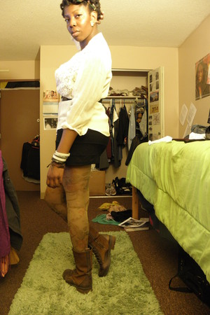 camel Urban Outfitters tights - brown Steve Madden boots - cream thrifted blouse