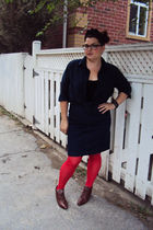 red H&M stockings - blue joe fresh style top - blue Stefanie Bezaire skirt - bro