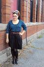Blue-stefanie-bezaire-top-black-stefanie-bezaire-skirt-brown-vintage-boots-