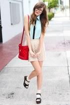 aquamarine Windsor Store blouse - tan Tea and Tulips skirt