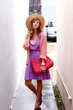 violet Tea and Tulips dress - bubble gum Tea and Tulips cardigan