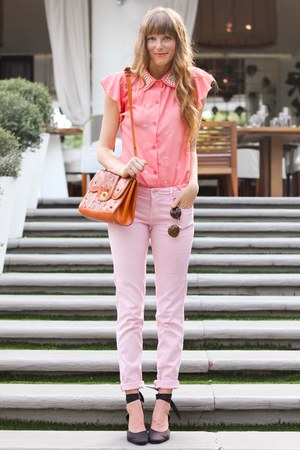 Tea and Tulips bag - bubble gum Sheinside blouse