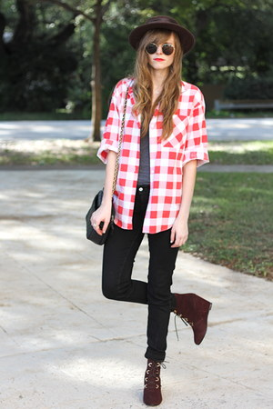 red Tea and Tulips blouse - crimson Sheinside wedges