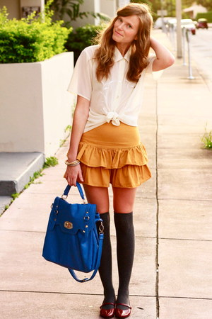 tawny Tea and Tulips skirt - navy francescas collections bag