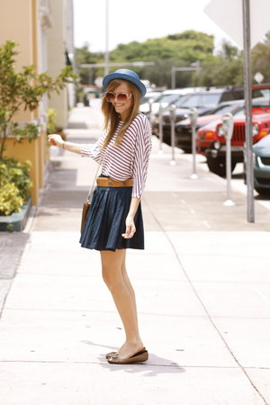 violet vintage hat - burnt orange vintage belt - crimson thrifted blouse - navy