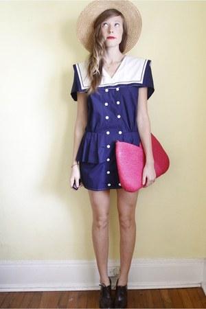 navy Tea and Tulips dress