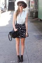 black romwe skirt - periwinkle Tea and Tulips blouse