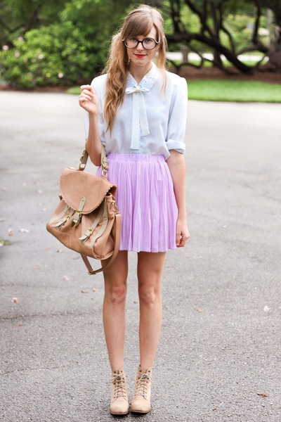 amethyst romwe skirt - periwinkle Tea and Tulips blouse