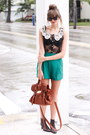 Forest-green-tea-and-tulips-shorts-black-shwood-glasses-black-romwe-blouse