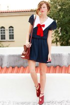 navy Tea and Tulips dress