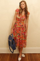 Tea and Tulips dress - Francescas Collections bag - vintage flats