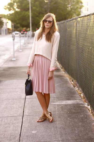 bubble gum vintage dress - neutral H & M sweater - navy vintage bag - navy H & M