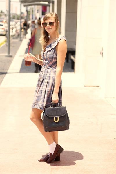 crimson thrifted shoes - amethyst vintage dress - navy vintage bag - white Forev