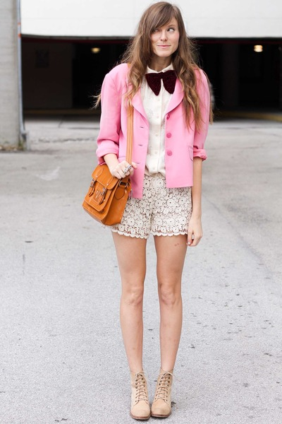light pink Chicwish shorts - carrot orange romwe bag