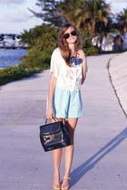 sky blue Tea and Tulips shorts - cream Tea and Tulips blouse