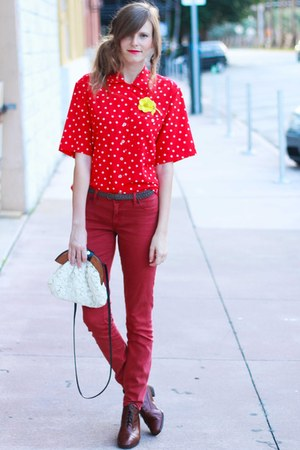 red Tea and Tulips blouse