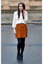 Topshop skirt - Topshop boots - Primark blouse