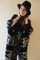 black trilby H&M hat - dark gray butterfly print Primark pants - black navajo pa