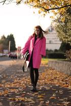 bubble gum thrifted coat - black cutout boots Ebay boots - black Primark jeans