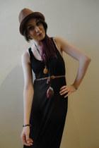 black H&M dress - dark brown Topman hat
