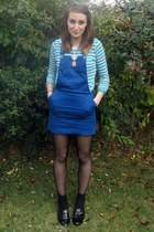 blue dungaress H&M dress - black loafers Very shoes