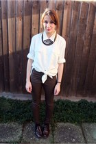 brown faux leather H&M pants - white sheer vintage shirt
