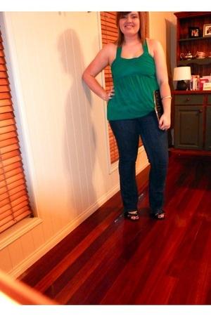 green Lipsy dress - blue portmans jeans - black zu shoes - black Kate Hill walle