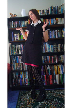 white shanton shirt - blue next intimate - black Glassons dress - black Thrift S