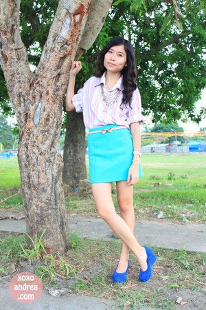 pink cotton Zara shirt - aquamarine bandage Forever 21 skirt