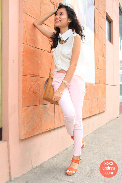 white sheer bugis blouse - carrot orange chunky Summit heels